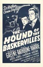 THE HOUND OF THE BASKERVILLES Movie POSTER 27x40 C Basil Rathbone Nigel Bruce