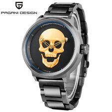 PAGANI DESIGN Men Solid Stainless Steel Bracelet Watch 3D Skull Quartz Fashion