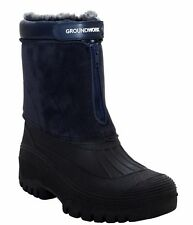MENS GROUNDWORK WARM FUR LINING WINTER SNOW MUCKER ZIP UP THERMAL BOOTS WELLIES