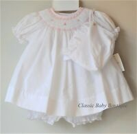 NWT Petit Ami White Pink Rose Smocked Bishop Dress Bonnet 3pc Newborn Baby Girls