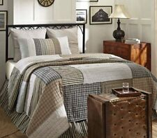 ASHMONT ** Queen ** QUILT : FARMHOUSE RAG GREY TAN WHITE PLAID TICKING STRIPES