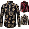 Men's Floral Print Shirt Casual Floral Shirts Blouse Slim Fit Dress Shirt Tops