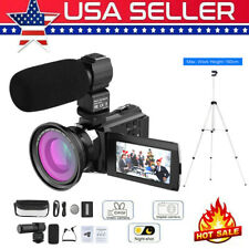 4K 1080P 48MP WiFi Digital Video Camera 16X Zoom IR Camcorder w/ Lens+Mic+Tripod
