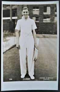 PERRY FRED 1930's TRIM & CO, WIMBLEDON PHOTOGRAPHIC TENNIS POSTCARD