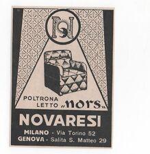 Pubblicità vintage NORS NOVARESI POLTRONA LETTO MILANO advert werbung publicitè