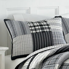 NAUTICA Standard Pillow Sham, GUNSTON Plaid, Gray, Black, White, Quilted, NEW
