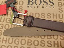 Hugo BOSS Cintura squisita C-Ellot Marrone Pelle Taglia 80/30 Logo Fibbia Cinture Nuovo con Etichetta