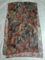 "Vintage Mademoiselle Long Scarf  21""  x 72"" Semi Sheer Abstract Floral Victorian"