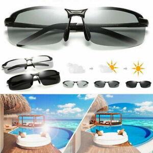 Men Photochromic Polarized Sunglasses Transition Day Night Sport Driving Glasses
