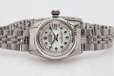 $7000 Genuine ROLEX 18k Gold SS Ladies Datejust 1ct Emerald Diamond Watch & BOX