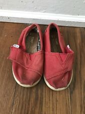 Toms Classic Canvas Strap Slip On Shoes Size Toddler 6 Red