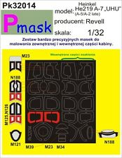 HEINKEL HE-219 A-7 UHU PAINTING MASK TO REVELL KIT #32014 1/32 PMASK