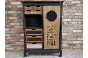 Industrial Wooden Multi Use Storage Cabinet - Sliding Door