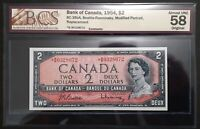1954 Bank of Canada $2 Dollars Replacement *B/B BCS CH.AU-58 Original BC-38bA