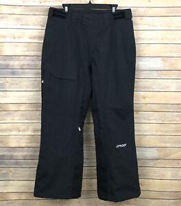 Spyder Snow Ski Pants MENS M Black Solid Embroidered Logo Pockets Winter