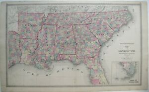 Original 1872 Map SOUTHERN STATES Florida Georgia Tennessee Texas US Mail Route