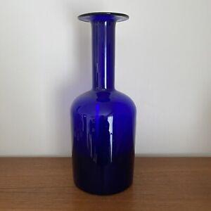 Vintage HOLMEGAARD Gulvase COBALT Blue GLASS Vase 37cm OTTO BRAUER Scandinavian