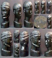 Art Africain 1930 paire statues bustes ébène massif 11kg42c Gabon très déco rare