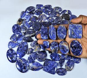 70Pcs NATURAL BLUE SODALITE MIX SHAPE CABOCHON LOOSE GEMSTONE 2500Cts. LOT