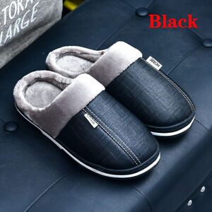 PU waterproof indoor couples home non-slip warmth padded sole shoes women's Men