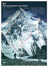 K2 THE MOUNTAINEER'S MOUNTAIN Spectacular Climbing Map History Wall Chart Poster