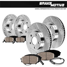 Front+Rear Drill Slot Brake Rotors +Ceramic Pads For VW Beetle Golf Jetta