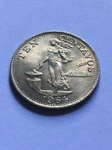 PHILIPPINES 1964 Ten Centavo Coin KM 188 AU+