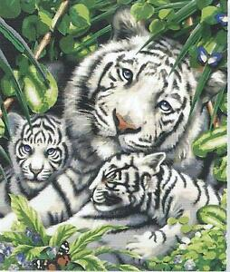 WHITE TIGER FAMILY PORTRAIT NEEDLEPOINT TAPESTRY WOOL KIT - READY TO STITCH