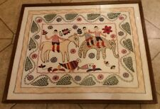 Vintage framed hand made Needle Point Embroidered Phulkari Art from India.