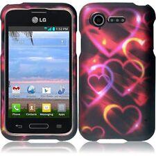 For LG Optimus Zone 2 L34C Fuel Rubberized Design - Colorful Hearts