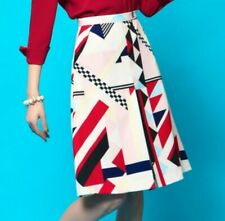 Red High-waisted Geometric Check Dress, White Skirt, Casual Work  S 6 8 10