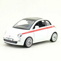 1/30 Scale Fiat 500 Model Car Diecast Gift Toy Vehicle Kids Pull Back White