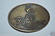 WOW Vintage Hilton Flamingo Hotel Casino RENO NV Brass Tone Belt Buckle NM