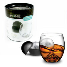 """2 Pc Whiskey Glasses Set Silicone Ice Ball Mold Maker 2.5"""" Sphere Cocktail Party"""