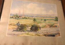 Original Watercolor Painting Framed Russian Artist Signed City Scene / Farmer