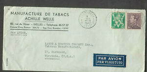 Belgium 1942 WWII no censor cover Manufacture De tabac Achille Welle Etterbeek