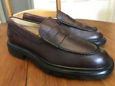 TOD'S Mens Penny Loafer sz 8 Brown Leather shoes Made in Italy Heavy Rubber Sole