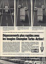 PUBLICITE  1970   CHAMPION  bougies TURBO ACTION