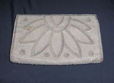 Vintage Majid Hand Beaded Champagne Satin Clutch Evening Bag Purse France
