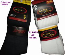 Lot de 12 à 48 paires de chaussettes tennis sport pour homme femme garçon