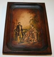 "Antique 1900s Victorian Couple Framed Leather Type Painting Print 5.5""x 7.5"""