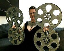 "Lot 4 metal 14.5"" 35mm film movie reel Theater room wall decoration man cave Vtg"