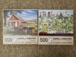 LOT 2 BITS AND PIECES 500 PC PUZZLES - Assembly Row Flea Market,   Morning Ma'am