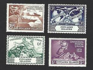 PITCAIRN ISLANDS 1949, 75th ANNIVERSARY OF U.P.U. SET OF 4 STAMPS. SG.13-16, MH