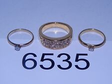 Vintage Jewelry LOT OF 3 Rings GOLD TONE RHINESTONES 6535