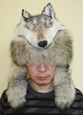Wolf fur hat with head on top.Mongolian warrior style. All sizes are available