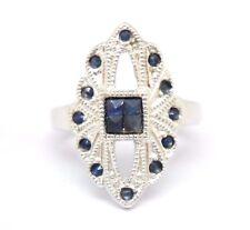 Saphir RING Saphire Größe 51 STERLINGSILBER 925 Silber ANTIK STYLE Rhodiniert