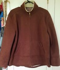 Lauren Ralph Lauren Brown Faux Suede & Sherpa Lined Jacket Coat Womens SZ Large