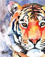 Tiger Art Print Signed by Artist Ron Krajewski Painting 8x10