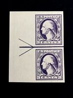 US Stamps, Scott #535 Type IV Horiz Joint Line Pair 1918 XF M/NH Margin arrow